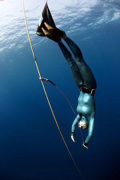 freediver with monofin at AIDA World Championships