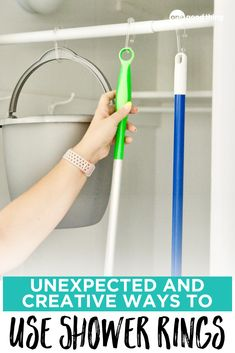 There are so many creative and genius ways you can use shower curtain rings around the house! They're perfect for everything from organizing and storage, to decorating and teaching. Check out this list of clever ideas! House Cleaning Checklist, Organization Hacks, Organization Ideas, Shower Curtain Rings, Cute Kitchen, Curtains With Rings, Konmari, Frugal Tips, Decluttering