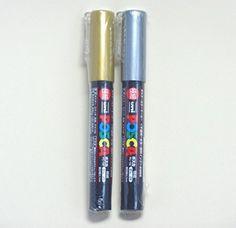 Uni #Posca #Paint Marker PC-1M Gold & Silver, 2 pens per Pack(Japan Import) [Komainu-Dou Original Package]