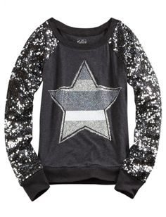 Katelyn - size 6 - Sequin Sleeve Knit Sweatshirt | Girls Long Sleeve Tops & Tees | Shop Justice