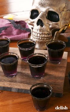 Get Spooky With These Black Magic Jello-O ShotsDelish Halloween Jello Shots, Halloween Food For Party, Halloween Desserts, Halloween Treats, Classy Halloween, Halloween Decorations, 30th Party, Adult Birthday Party, 30th Birthday Parties