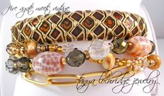 Fire Agate Bracelet stacked with a very early Joan Rivers Classic Collection enamel bracelet. This Joan bracelet is breathtaking! #joanrivers