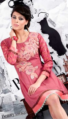 Fancy Georgette Tunic With Floral Embroidery In The Front Material: Georgette Fit: A-Line Neck Line: Fancy Workmanship: Machine Work, Sequins, Resham Lining: Polyester Co-Ordinates: None Hem: Thick Broad Solid Border Care: Dry Clean Only Latest Kurti, Dusty Pink, Floral Embroidery, Pink Color, Sequins, Tunic, Fancy, Stylish, My Style