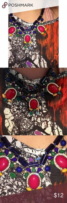 Summer Statement Necklace Gorgeous necklace in excellent condition with no stones missing. Red, blue,  yellow, green, and sparkling little clear jewels. Very bold and fun! Adjustable lobster clasp in the back. ⭐️ very similar to some J crew styles🛍 only tagged for exposure ⭐️ No trades. J. Crew Jewelry Necklaces