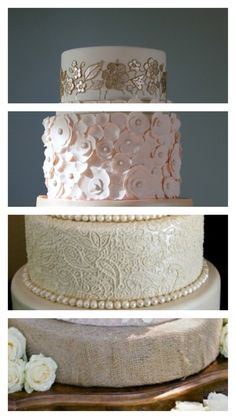 wedding cake. gold and white floral top. pale pink flowers 2nd tier. paisley and pearls bottom. burlap base on antique table.