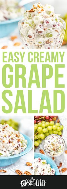 This simple Grape Salad Recipe is so easy to make with just 7 simple ingredients, and is always a hit at parties. It's a sweet, creamy and delicious side dish. Summer Salad Recipes, Fruit Salad Recipes, Salad Dressing Recipes, Fruit Salads, Chef Recipes, Appetizer Recipes, Baking Recipes, Dessert Recipes, Appetizers