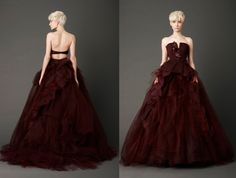 Like this color dark red for bridesmaids dresses. Obviously not the style of dress pictured, just the beautiful red color!