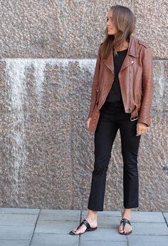 black | brown leather jacket