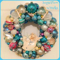 "Chic Aqua Beach Mermaid Vintage Ornament Wreath ~Large 20"" , Shiny Brite, Vintage Norcrest Mermaid Plaque OOAK! by SugarPlumWreaths on Etsy https://www.etsy.com/listing/462738406/chic-aqua-beach-mermaid-vintage-ornament"