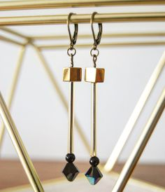Prism Crystal Cube earrings  https://www.etsy.com/ca/listing/496865478/prism-earrings-hand-made-gold-hematite