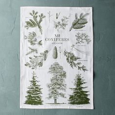 "Created by our design team to showcase Atlantic or Pacific evergreen varieties, this botanical tea towel is printed on soft cotton.- A terrain exclusive- Cotton- Wash with like colors; air dry- Imported20""W, 28""L"