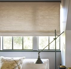 Roman shades in solids, textured or patterned fabric are simple, effective, easy to clean and look beautiful.