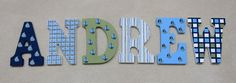 """ANDREW - 9"""" Hand Painted Wooden Letters by DecorativeDecoupage on Etsy, $20.00"""