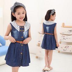 Vestidos para el espectáculo de ropa para niños muchachas del verano ocasional del cordón vestido de mezclilla con la correa libre kd 4-12 años los pantalones vaqueros vestido de tirantes para adolescentes(China (Mainland))