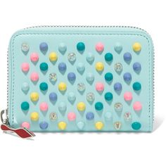 Christian Louboutin Panettone spiked leather wallet ($310) ❤ liked on Polyvore featuring bags, wallets, sky blue, zipper tote, leather wallets, handbags totes, zip wallet and zippered tote bag