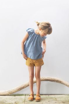 Mustard shorts and clogs, nice change for summer! #estella #kids #fashion