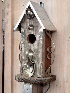 silverware embellished birdhouse