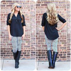Leopard in the Snow Leggings $16.00 #FallFashion Cute WEBSITE for leggings
