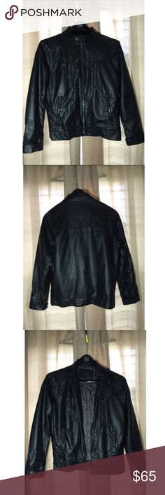 ~Calvin Klein Leather Jacket~ Barely worn once Calvin Klein Leather Jacket Size medium could fit a mens large and a women's extra large Calvin Klein Jackets & Coats