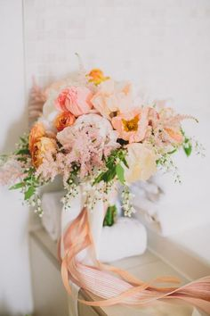 Shape for bouquets and arrangements? peach toned bouquet // photo by Lauren Fair // flowers by Lilies and Lavender // view more: Spring Wedding Bouquets, Bride Bouquets, Bridesmaid Bouquet, Floral Wedding, Wedding Colors, Wedding Flowers, Love Flowers, Beautiful Flowers, Peach Flowers
