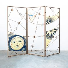 Paravant Room Divider Screen Italy, circa 1955 Fornasetti Room Divider Screen, Piero Fornasetti, Space Age, Mid Century Modern Design, Midcentury Modern, Screen Printing, Iron, Italy, Interiors