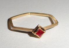 "Fine Jewelry Ring Gold Hexagon ""Star"""