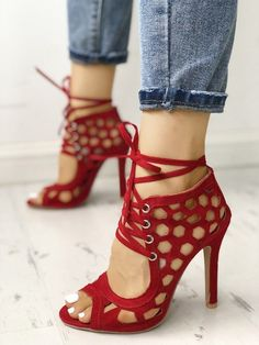 97d88f02aa1 Sexy Lace Up Hollow-Out High Heels Sandals  sexyshoes Strappy Shoes