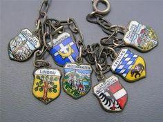Vintage Enamel 800 Silver Travel Shield Charm German Bracelet  LOOOOVE!!!