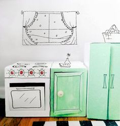 An awesome DIY cardboard kitchen for kids! Cardboard fun by mommo design. Cardboard Kitchen, Cardboard Play, Cardboard Box Crafts, Cardboard Design, New Kitchen Diy, Kids Play Kitchen, Diy Karton, Licht Box, Diy Box