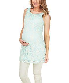 PinkBlush Maternity Mint Lace Maternity Tank by PinkBlush Maternity #zulily #zulilyfinds