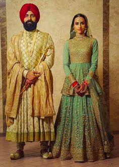 This sea green lehenga with intricate golden work and a peplum style blouse looks so classy. South Indian Bride, Indian Bridal, Indian Groom, Sabyasachi Collection, Sabyasachi Bride, Green Lehenga, Indian Dresses, Indian Clothes, Pakistani Dresses