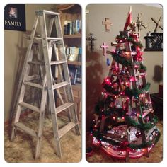 Christmas tree made out of two and stacked ladders. Ladder Christmas Tree, Diy Christmas, Christmas Decorations, Xmas, Holiday Decor, Alternative Christmas Tree, Plant Stands, Ladders, Tis The Season