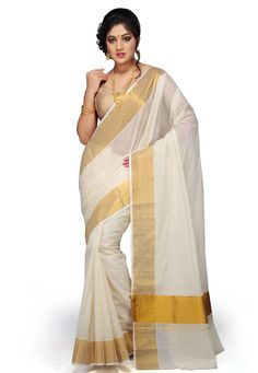 Go for a silk cotton, a woven design, Bhagalpuri off-white saree. The lovely detailing, intricate woven design, and the rich golden border will make you look like a fashion diva. Shop Online Golden And White Saree at Best Prices in India. Onam Saree, Kasavu Saree, Kerala Saree, Indian Sarees, Silk Sarees, Cotton Blouses, Cotton Saree, Cotton Silk, Kerala Traditional Saree