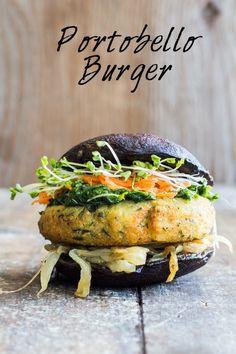 A Portobello Burger recipe a. THE most perfect vegan, gluten-free, grain-free, healthy burger on.the supreme healthy burger! Veggie Recipes, Whole Food Recipes, Vegetarian Recipes, Healthy Recipes, Hamburger Recipes, Vegetarian Barbecue, Vegetarian Cooking, Veggie Food, Healthy Cooking