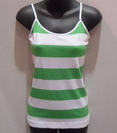 c0479111f9 Tank Top Fit S M L Green White Striped Camisole Nylon Spandex Stretch NWT  DC465  fashion