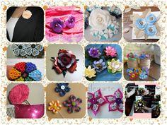 MI TALLER DE DULCES ILUSIONES. Varias flores de tela, de papel, de lana, con enlaces hacia los tutorials. Una linda recopilacion de como usar flores y como hacerlas !!!