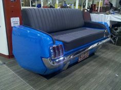 Classic Couches - Car Couches made from Real Cars Car Part Furniture, Automotive Furniture, Automotive Art, Furniture Making, 1965 Mustang, Ford Mustang, Interior Exterior, Cafe Interior, Car Chair