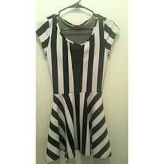 Selling this Black and white strip mini short dress with mesh in my Poshmark closet! My username is: andieemichelle. #shopmycloset #poshmark #fashion #shopping #style #forsale #rainbow #Dresses & Skirts