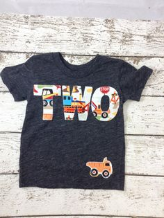 New lil threadz design posted! Ready to Ship second birthday shirt  construction shirt construction birthday two shirt boy's shirt second birthday gift  long sleeve by lilthreadzclothing