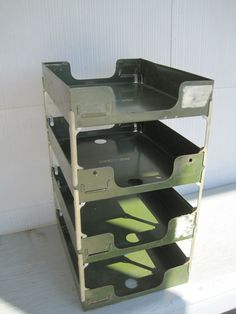 Drab Green Stacking In/Out Tray