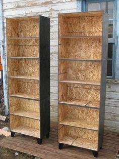 Custom Made Tansu Style Step Modular Osb Bookcase Room Divider In Black Stain Osb Plywood, Plywood Furniture, Diy Furniture, Furniture Design, Particle Board Furniture, Diy Room Divider, Diy Wood Projects, Woodworking, Decoration