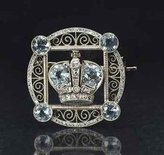 An aquamarine and diamond imperial presentation brooch, by Fabergé, wth workmaster's mark of August Hollming, St. Petersburg, circa Purchased by the Imperial Cabinet in 1913 and acquired in 1916 by Dowager Empress Maria Feodorovna for her journey to Kiev. Royal Jewels, Crown Jewels, Art Nouveau, Antique Jewelry, Vintage Jewelry, Faberge Jewelry, Fine Art Auctions, Diamond Cuts, Bracelets
