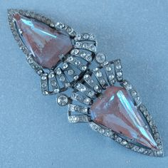 Czech Saphiret Faceted Art Deco Belt Buckle Rare