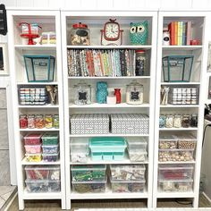 These shelves are heaven! *FEATURE* from ・・・ I think that it's safe to say that the shelves are done! I spent a lot of… Craft Room Shelves, Basement Craft Rooms, Craft Room Desk, Craft Room Storage, Craft Organization, Classroom Organisation, Organizing Ideas, Sewing Rooms, Handmade Home Decor
