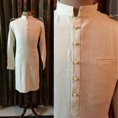 Menswear: Off-White Finest Cotton-Silk in straight Chinese collar Pathani Kurta-Afghani Salwar