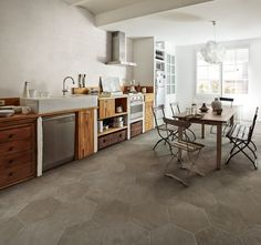 Lexington by FINE in Grey is available in: 13x13, 20x20, 3x6, 6x20, and 6x6 field tile; 18x14 hexagon; and 3x13 battiscopa. Hexagonal decos and mixed basketweave mosaics also come in this line! #terracotta #hexagontile www.galleriastone.com