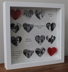 Personalised anniversary gift. Bespoke 16 heart anniversary frame. 3D photo collage Hearts can be personalised with text, photos or images Picture comes framed in a beautiful white or black boxed frame measuring 23cm x 23cm. The box frame can be hung on the wall or sit directly