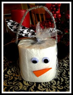 Toilet Paper Christmas Gift - this would be cute with a box of Kleenex too. Click on link to read card.