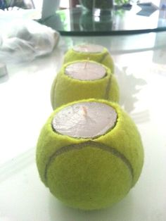 Turn old tennis balls into these indoor or outdoor candles! Find more tennis ideas, quotes, tips, and lessons at #lorisgolfshoppe