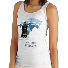 Winter Is Coming Jon Snow Game Of Thrones Women's Vest. Women's Vest. PLEASE USE OUR SIZE GUIDE IN THE IMAGE GALLERY. High quality, branded product. Professionally printed using the latest and best digital print technology. No cheap and nasty iron on transfers used! We only use the best quality environmentally friendly printing industry standard inks.